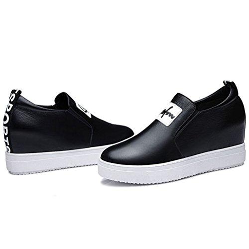 Damen Runde Zehen Flach Slip-on Halbschuhe Britische Stil Bequeme Plateauschuhe Sneakers Schwarz