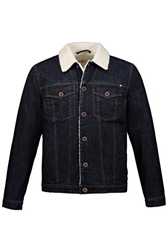 JP 1880 Herren große Größen bis 7 XL, Jeansjacke mit Teddyfutter, Brusttaschen, mit Manschetten darkblue 3XL 716831 93-3XL