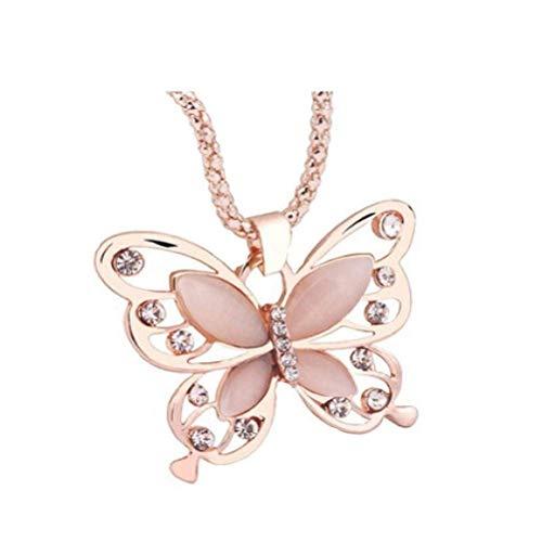 TINGSU Fashion Damen Halskette mit Schmetterlingsanhänger, Roségold, Opal