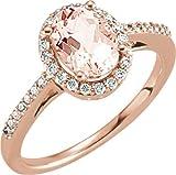 14K Rose Gold Morganit & 1/5ctw Diamant Ring