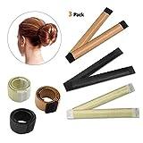IBEET Bun Haarschmuck, Magic Hair Styling Donut Bun Maker, Hair Bun Shapers für Frauen Mädchen DIY Frisur Tools, 3 Pack (Schwarz/cremeweiß / Braun)