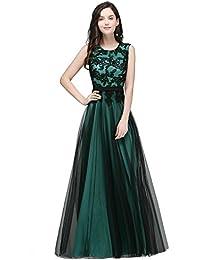 MisShow Damen Elegant Ärmellos Tüll Abendkleider Abschlusskleid Ballkleider  Lang 0741237cb0