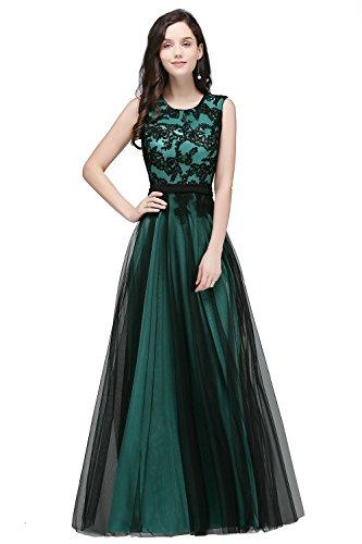 Elegant Damen Abendkleid lang Ärmellos Satin Tüll Ballkleid Abendkleid Festkleid mit Stickerei...