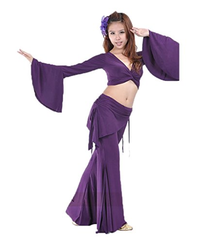 Crystal Dance Belly Kostüm (Bmeigo Bauchtanz Practice Costume Yoga Kostüme Set Tops und)