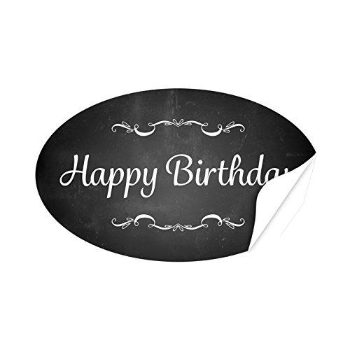 20 x ovale Etiketten Happy Birthday Tafel Look - Format ca. 8 x 5 cm - Aufkleber, Sticker für Geschenke, als Dankeschön, zum Geburtstag