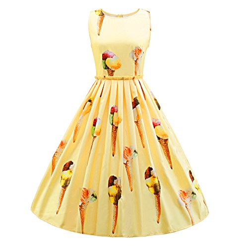 Frauen 50er Jahre Vintage Hepburn Button Dekoration Swing Party Cocktail BallGown Druck (50er Mädchen Jahre Outfits)