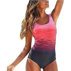 Sweetneed Bañadores de Mujer Traje de una Pieza con Relleno Bañador Push up Ropa de Baño Cintura Alta Size Gradiente de Color Cruz Atrás Slim Fit Cuerpo Atractivo Bañera Bikini (XL(12-14), Naranja)
