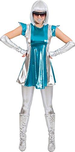 Space Alien Girl Kostüm - Spacewoman Raumfahrerin Weltraum Spacegirl Damenkleid