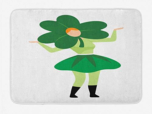 YnimioHOB St. Patrick's Day Badematte, Lucky Lady mit Klee Hut Kostüm Muster, Plüsch Badezimmer Dekor Matte mit Rutschfester Rückseite, Grün Hellgrün Orange - Varys Kostüm Muster