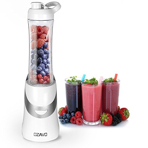 OZAVO Batidora de Vaso | Mini Mixer | 350 W | Libre de BPA | Cuchillas del metal 4 veces | 600 ml | Universal Power Mixer (Blanco)