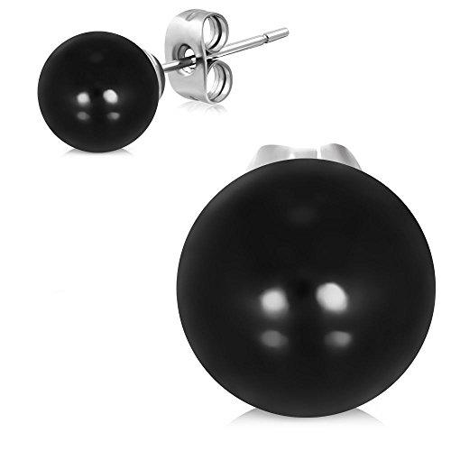 Bungsa Perlen Ohrstecker schwarz 8mm - 1 Paar Edelstahl (Ohrringe Ohrhänger Creolen black Pearl Ohrschmuck Ohrklemmen Damen Frauen Herren Mode)