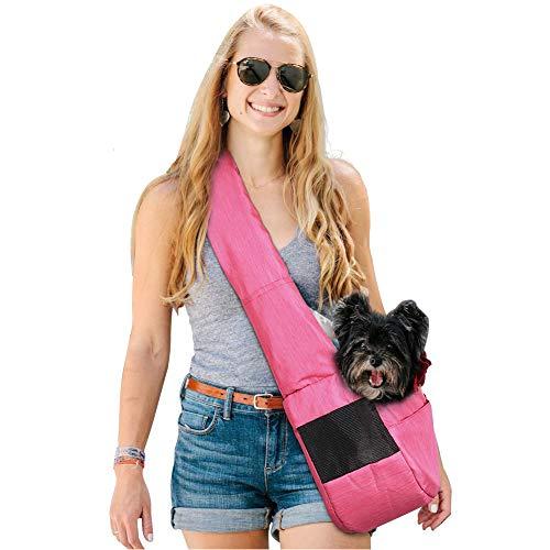 LUVODI Handfrei Hunde Tragtuch Transporttasche Hundetasche für kleine Hunde mit verstellbarem Schultergurt Unterstüzung unter 9KG (Rosa) -