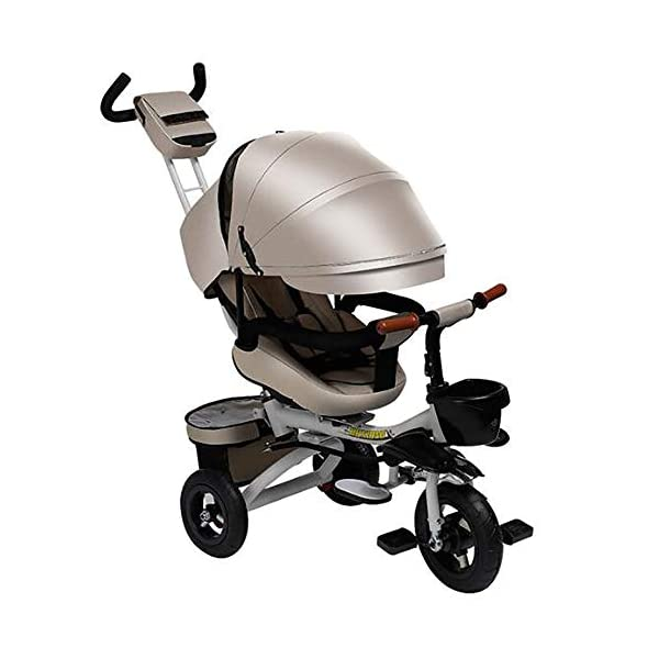 Sunzy Children's hand-pushing tricycle, 360-degree rotating disassembly and reclining baby bicycle, suitable for children from 6 months to 6 years old  The seat can be rotated, even if the two-way implementation of humanization during walking, the parents can always pay attention to the baby's every move, one-click to open the rotating function, 360 ° full landscape. The backrest angle can be adjusted freely from 100° to 170° to suit your baby's needs. Equipped with storage function and folding system for easy travel, inflatable rubber tires, explosion-proof and stab-resistant 1