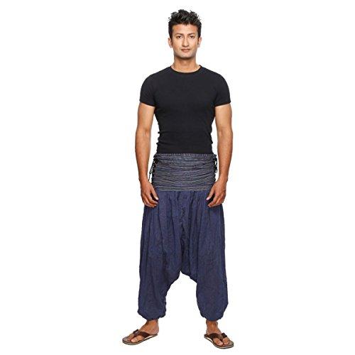 Harem pantaloni Pumphose Aladi Pluder pantaloni Yoga Goa pantaloni sarouel Baggy il tempo libero legatura Jaya pantaloni da uomo Blau Gestreift L/XL