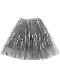 18536a46b8bae YFCH Fille Jupe Jupon Tulle Tutu Court Plissée Classique Jupe Danse Soirée  Bal Fête Petticoat Skirt