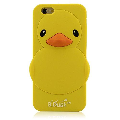 """3D Lovely Reine Gelb Ente Hülle Handy Tasche Schutzhülle für Apple iPhone 6 6S (4.7 Zoll) Animal Aussehen Design, iPhone 6 6S Case Skin Cover, Weich Silikon Gel Material (iPhone 6 Plus 6S Plus 5.5"""" nicht passen)"""