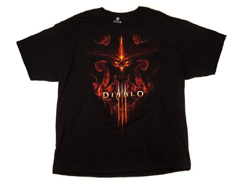 TAILAD Diablo III Burning Men's Short Sleeve Black Tee Shirt - Diablo T-shirt 3