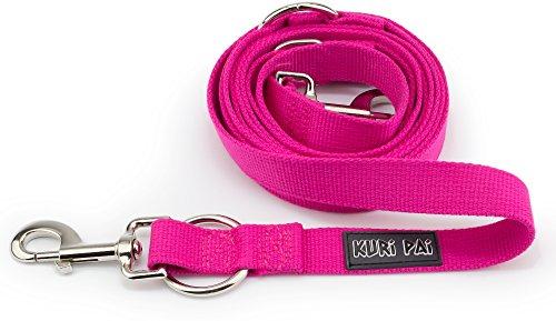 KURI PAI Pinke Hundeleine Für Große Kräftige Hunde, Mehrfach Verstellbar, 3m Leine (1,5m - 2,8m) Doppelleine (2.5cm breit, Pink), Für Zwei Hunde, Umweltfreundlich Aus Bambus - 2