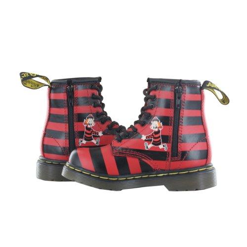Dr Martens X Beano enfants Minnie la Minx cuir avec fermeture Éclair et lacets Rouge/noir de coffre multicouleur - Noir/rouge