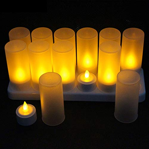 ADAHX LED-Kerzen, wiederaufladbare Flameless Candle Electronic Tea Candles with Frosted Cups Charging Base Yellow Light for Party, Bar, Geschenkdekoration (12pcs),White