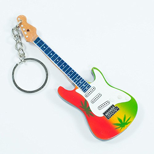 Portachiavi in Legno Forma Chitarra - Bob Marley - Marijuana Theme