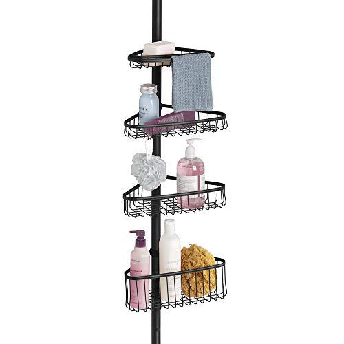 mDesign Duschregal ohne Bohren aus Metall – praktischer Shower Caddy für die Ecke – ausziehbare Duschablage für Shampoo, Conditioner etc. – mit Handtuchstange – mattschwarz