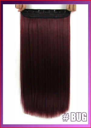 Best Verkauf. 55,9cm Kunsthaar teilig Zubehör, seidig glatt Clip in Hair Extensions, Farbe # Bug (Burgund Rot), 120g. Hohe Dichte