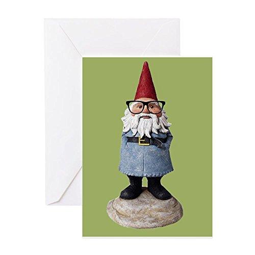 CafePress - Hipster Gartenzwerg mit Brille Nerd Kitsch G - Grußkarte, Notizkarte, Geburtstagskarte, blanko Innenseite glänzend