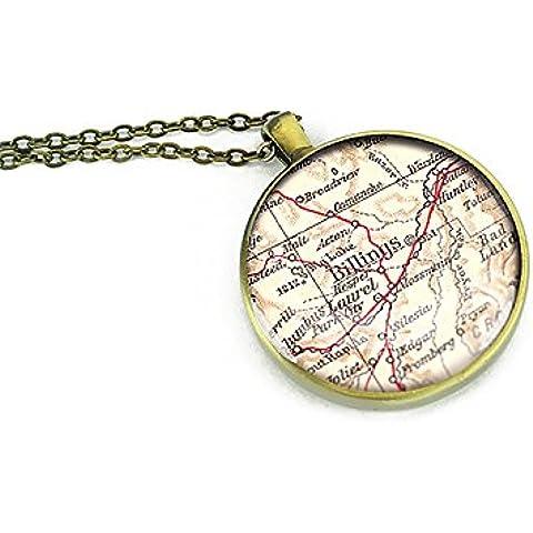 1925Vintage Billings Mapa Collar Montana redonda de plata colgante Forever Love regalo para madre