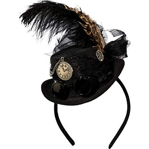 NET TOYS Mini Chapeau Chic avec Plumes pour Femme Steampunk | Noir | Accessoire de qualité pour Costume de Femme Bijou de tête Victorien | Idéal pour Carnaval & Halloween