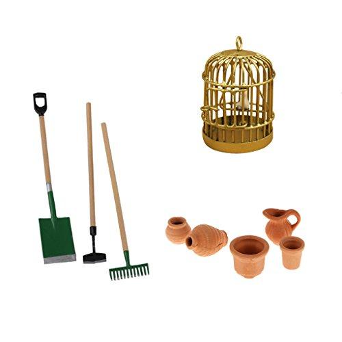 Sharplace 9 Pezzi / Set Decorazione Ornamento per Scala 1/12 Casa delle Bambole Giardino Strumento + Gabbia per Uccelli +Cocci di Ceramica