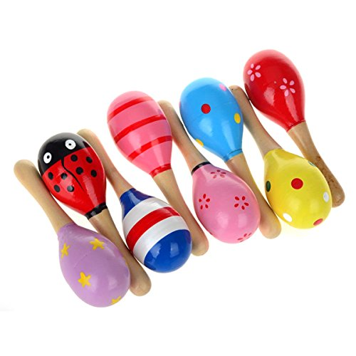 OULII Wooden Maracas Wooden Shakers Wooden Rattle Musical Educational Toys for Children Pack of 10(Random Color Pattern)