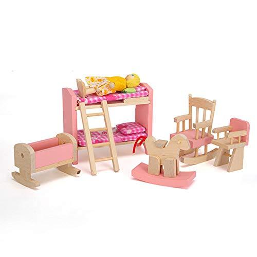 Rosa Holz Puppenhaus Schlafzimmer Möbel Set - Spielzeug Etagenbetten Stuhl Spielzeug für Kinder Kind Spiel Geschenk - (Etagenbett Schlafzimmer-sets)