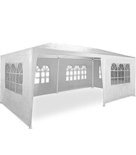Pavillon de jardin, Barnum de jardin, 3 x 6 m, avec 6 parois latérales, 6 avec fenêtre, connecteurs en plastique, avec piquets et câbles