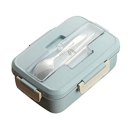 DKEyinx 1000ml Lunchbox/Bento Box Weizenstroh Lebensmittel Container, mit Löffel, 1 Paar Essstäbchen Blau (Bento-box-container Kids)