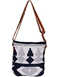 IndiWeaves Women Vintage Handmade Kilim Leather Handle Cross Body Sling Bag - B07658VJK6