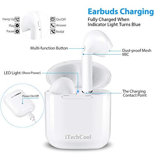 Bluetooth-Kopfhörer Drahtlose Ohrhörer Mini-Größe Im Ohr mit Mikrofon und Ladestation, Drahtlose Headsets Kompatibel mit iPhone Android-Handys(12 Stunden Spielzeit, HD-Stereoton, Rauschunterdrückung) - 4