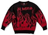 Pizoff Herren Hip-Hop Pullover Sweater - Oversized übergroß Strickpullover beiläufig Straße Stil Feuer Schwarz AL129-black-L