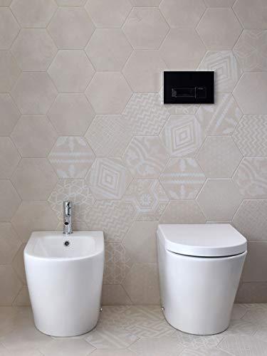 Yellowshop - sanitari bagno a terra pavimento filo muro mod. oasy vaso wc + bidet e coprivaso soft close