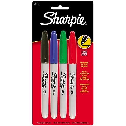 Sharpie Fine punto marcatori permanenti 4/Pkg-rosso, blu, nero, verde