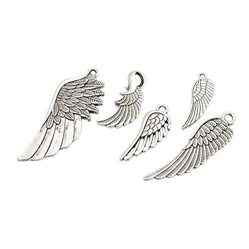 nbeads 100g Tibetan Style Legierung Flügel Anhänger, antik silber, 24~ 56x 9~ 21x 1~ 2mm, Loch: 1,5~ 5x 2~ 3mm, über 30~ 35pcs/100g