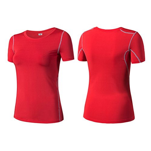 Zhhlaixing Womens Short Sleeve Sports T-Shirt Breathable Lightweight Tee Shirt 2003 red