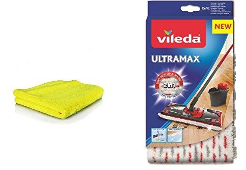Siluk&Vileda Ultramax Ersatzbezug Microfibre inklusive Universal Microfaser Putztuch I Wischbezug Ultramat für Holzböden, Parkett und Laminat I Vileda Bodenwischer Bezug I 2er Set