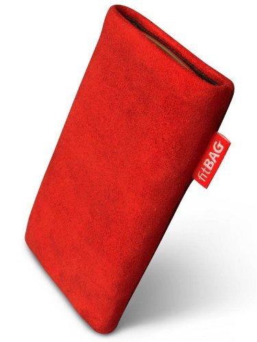 fitBAG Folk Rot Handytasche Tasche aus feinem Wildleder Echtleder mit Microfaserinnenfutter für Samsung SGH-J150