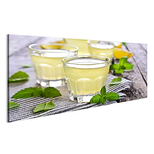 bilderfelix® Acrylglasbild Limonade von Zitrone in einem kleinen Glas auf Einer Holzoberfläche Wandbild Bild auf Glas