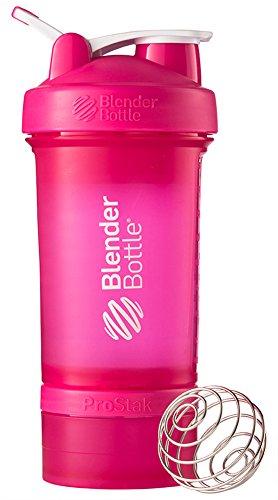 BlenderBottle Prostak Protein Shaker / Diät Shaker (650ml, skaliert bis 450ml, mit 2 Container 150ml & 100ml, 1 Pillenfach) Pink (Klare 2 Unzen-container)