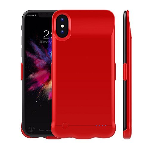iPhone X Housse de batterie, Betteck 5200 mAh Ultra fin Portable batterie Extended sauvegarde chargeur de batterie Housse étui de chargement batterie pour iPhone X (2017) Red