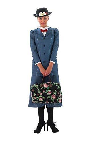 Ufficiale Disney Donna Stile Vittoriano Mary Poppins con borsa libro giorno settimana Costume da UK 8-18 Blue 38-39