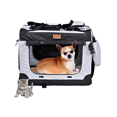 Pawstory Hundebox Katzenbox-Oxford Gewebe Faltbare Katzentransportbox, Haustier Hundetransportbox Transportbox Reisebox, Grau. (S)