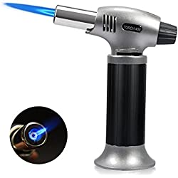 Nigecue Flambierbrenner für Creme Brulee Küchenbrenner Butangasbrenner für Küche Flammentemperatur 1300℃ 12x6x15,5cm 210g, Butan inbegriffen Nicht